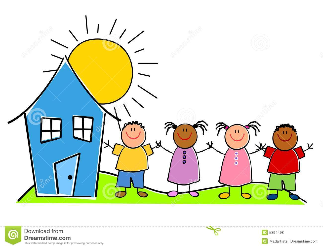 Childlike Kids With A House Stock Illustration - Illustration of ...