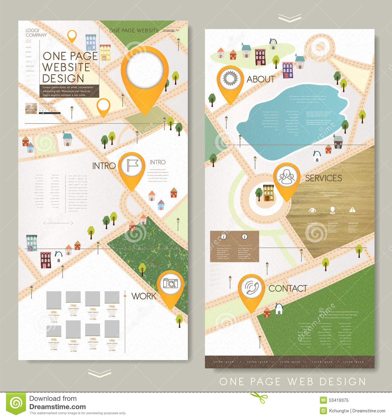 Site Map Template: Childlike One Page Website Template Design Stock Vector