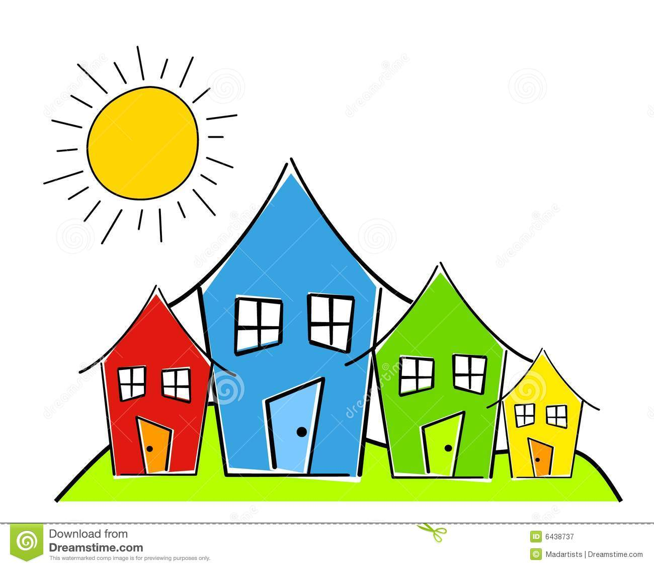Download Childlike Row of Houses stock illustration. Illustration of drawings - 6438737
