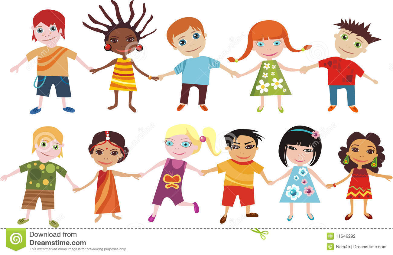 Vector illustration of children of the world.