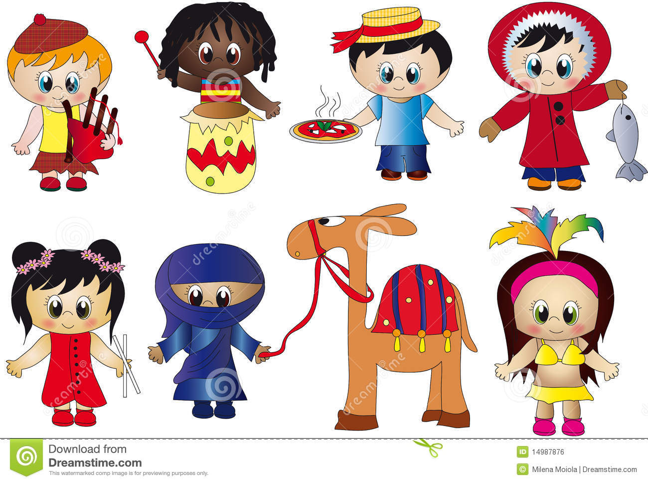 Niños De Diferentes Nacionalidades: Children Stock Illustration. Image Of Italy, Eskimo