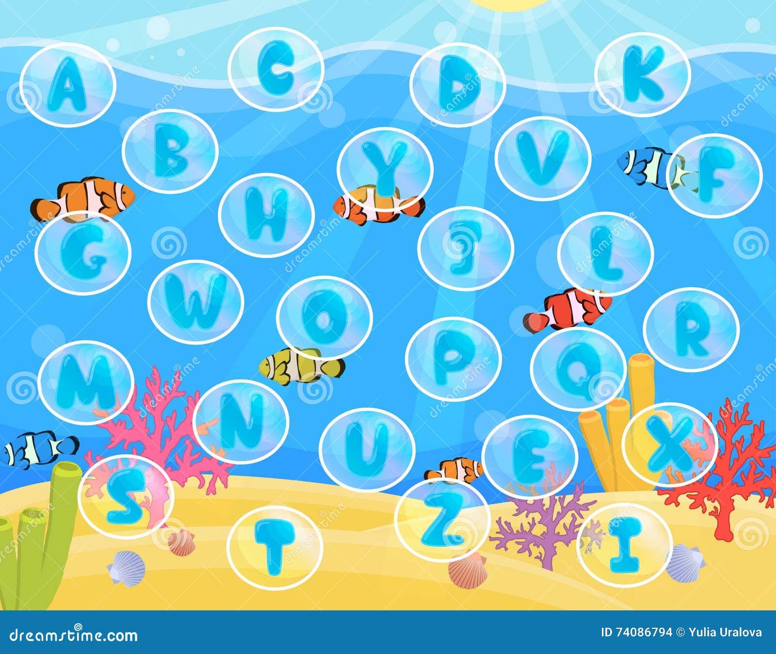 Children Activity Play Mat For Alphabet Learning. Stock