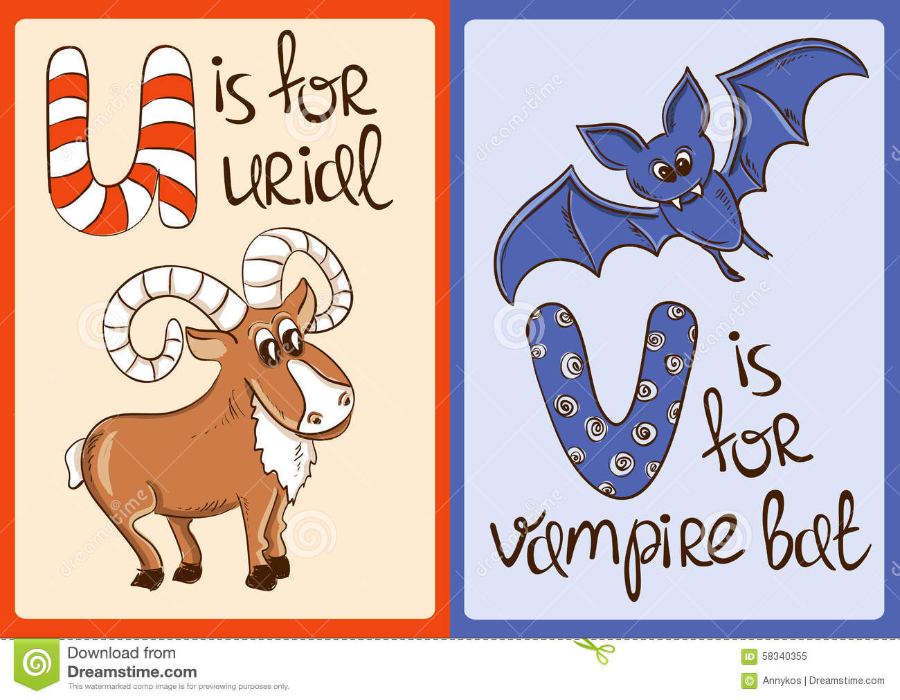 Children Alphabet With Funny Animals Urial And Vampire Bat ...