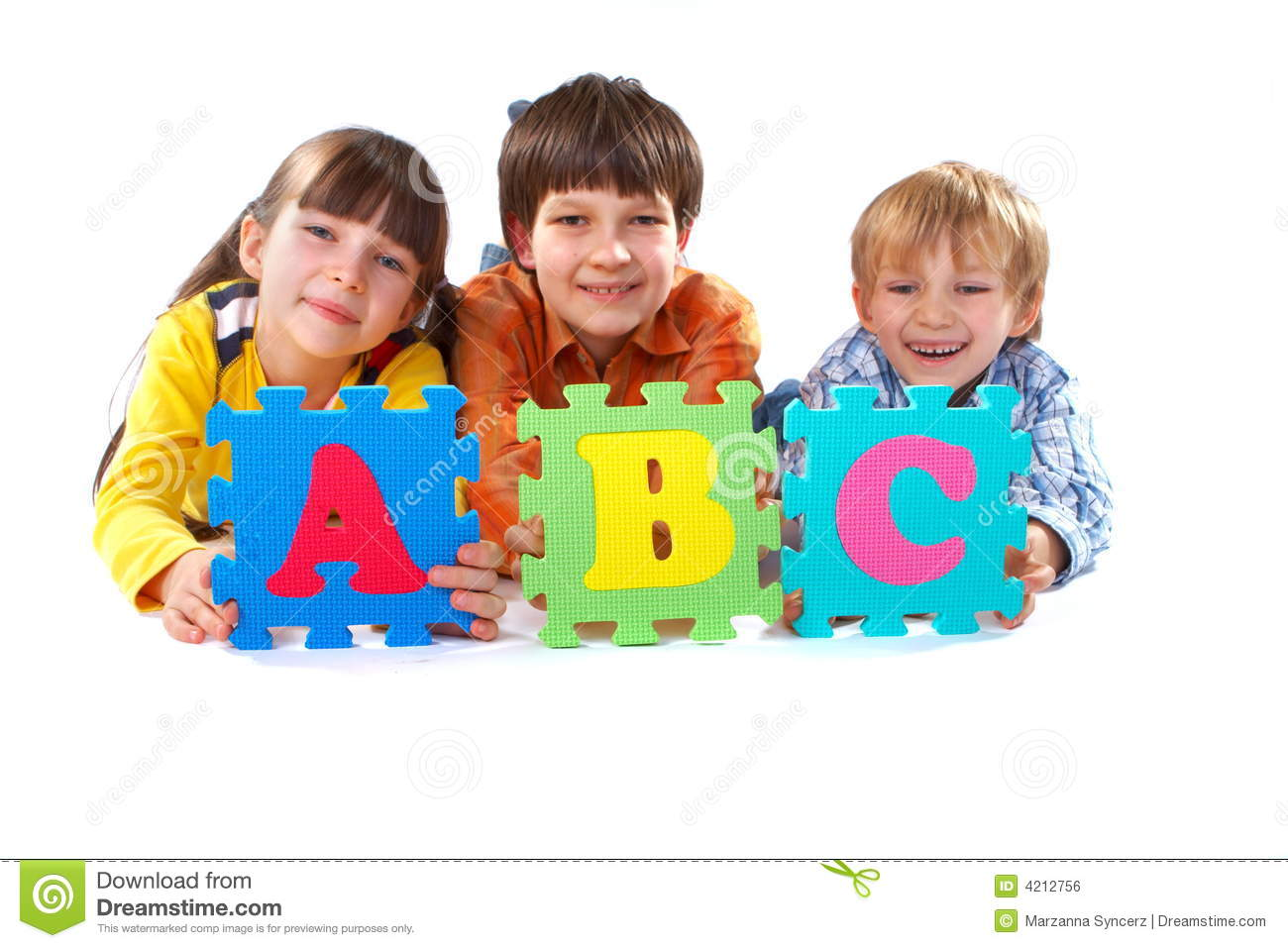 Children With Alphabet Puzzle Royalty Free Stock Image ...