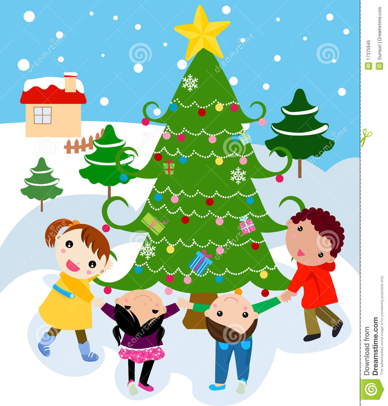 Children Around A Beautiful, Festive Christmas Tre Royalty Free ...
