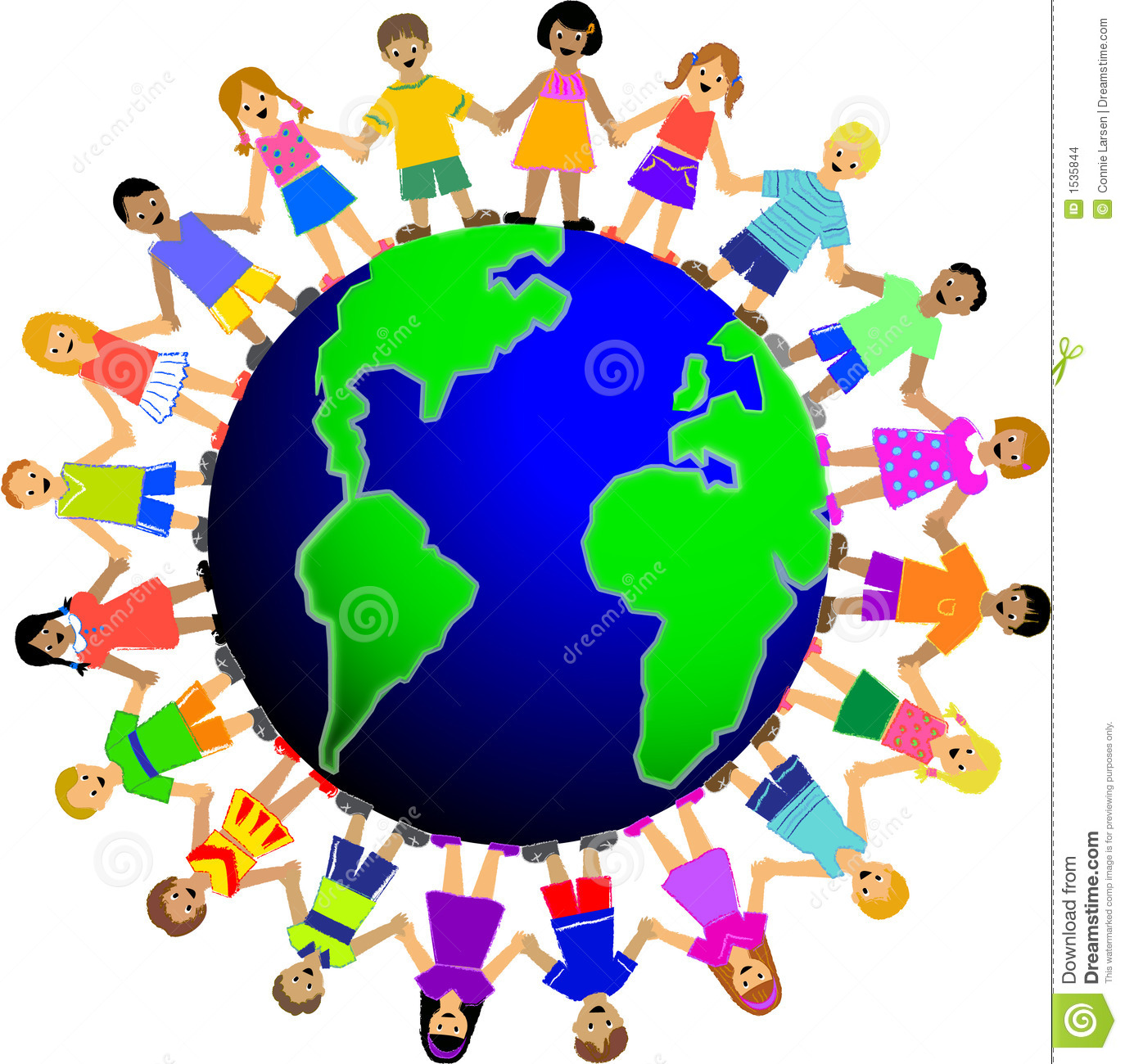 Illustration of multi cultural children holding hands surrounding the