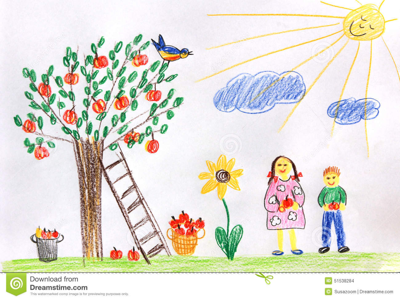 Garden drawing pictures - Royalty Free Illustration