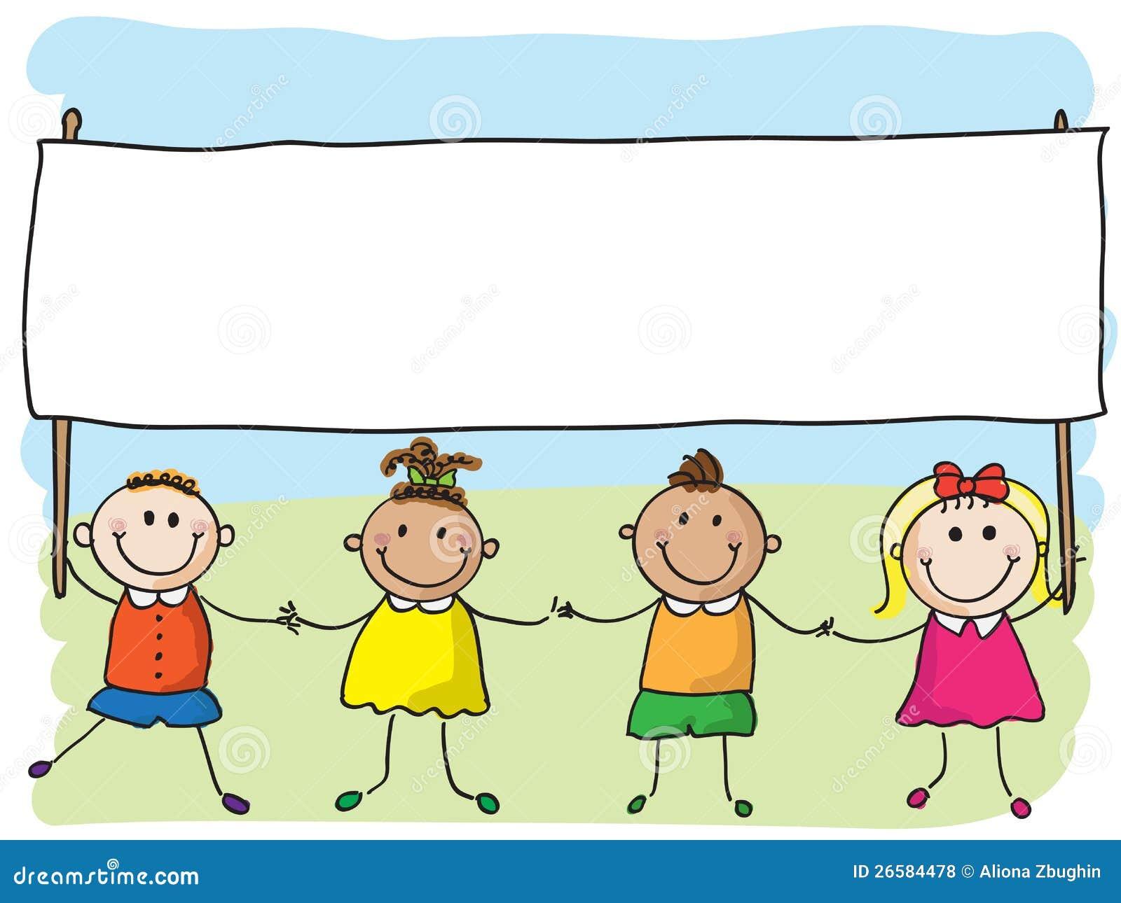 Children With Banner Stock Vector. Illustration Of Boys