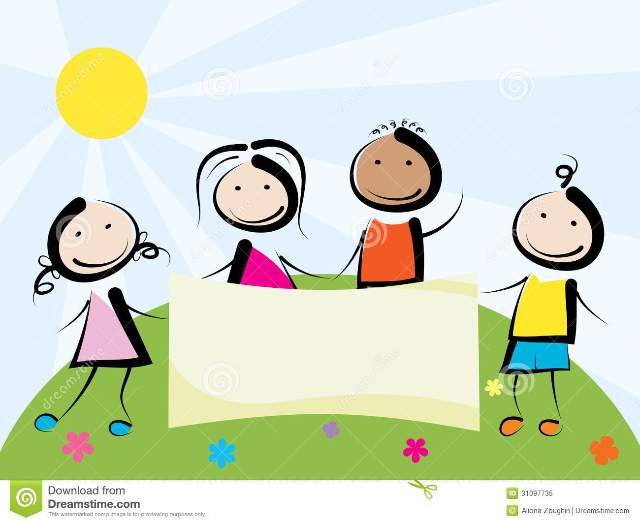Children With Banner Royalty Free Stock Photo - Image: 31097735