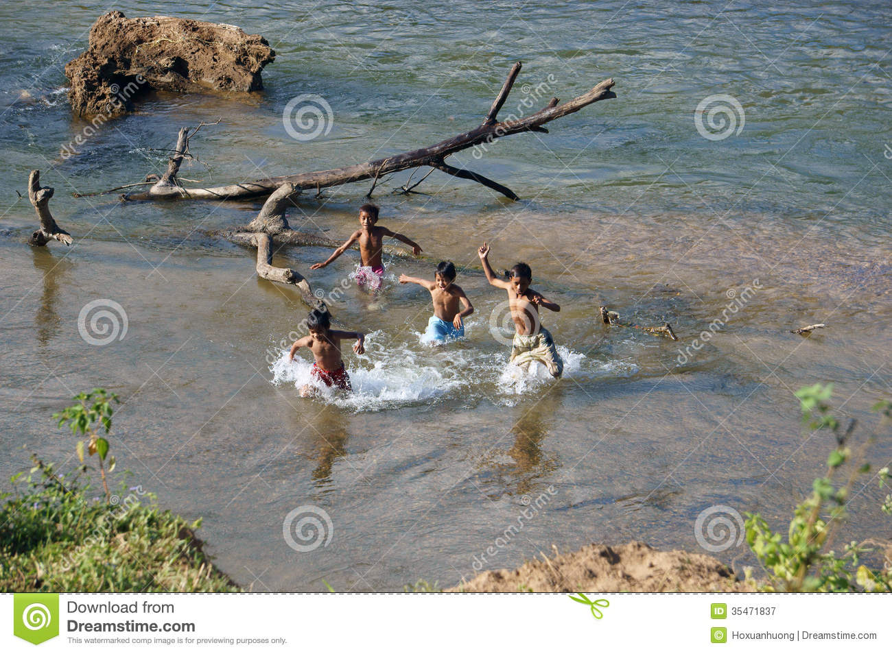 Children Bathe In The River Editorial Photography - Image ...