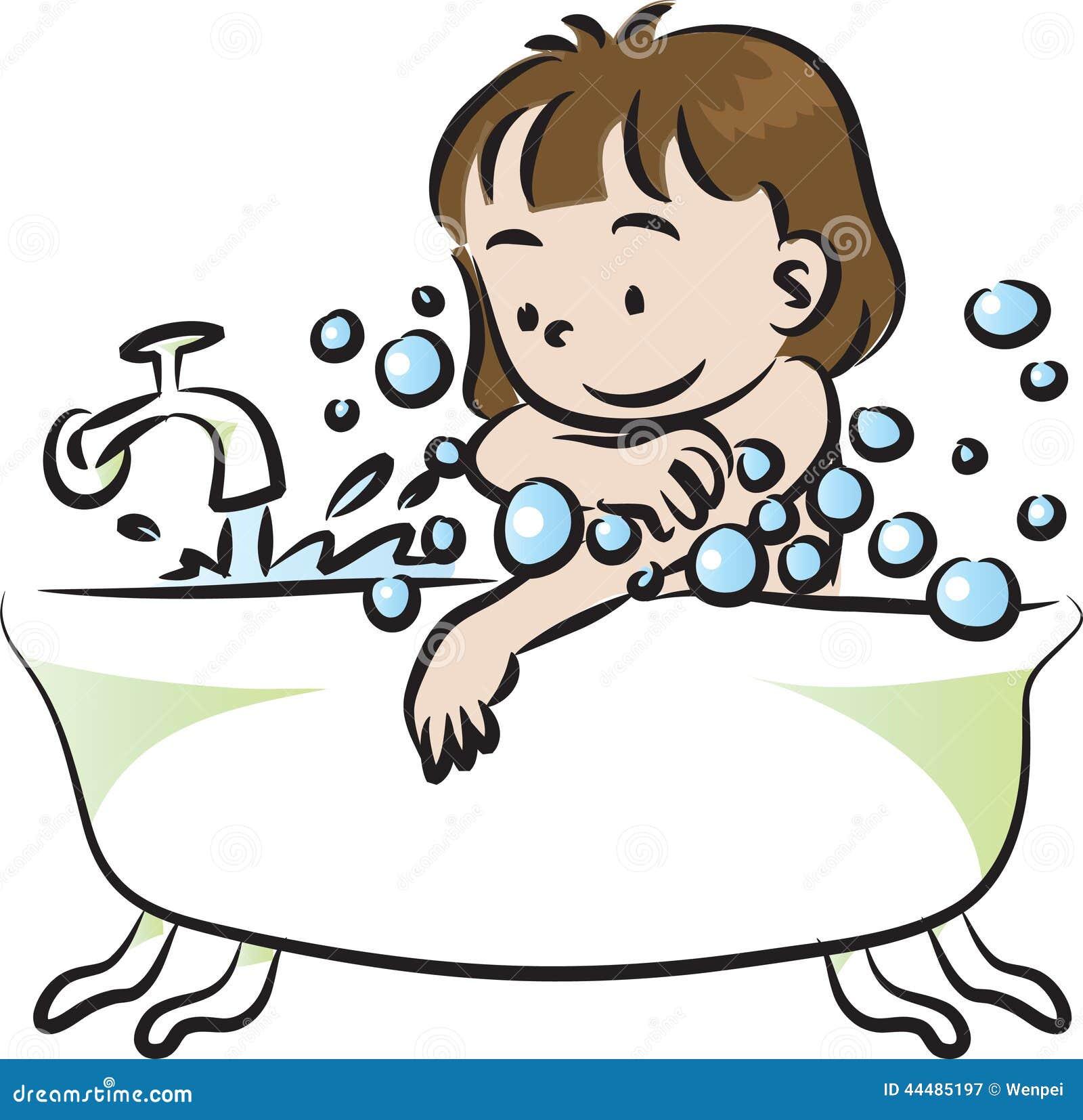 Children Bathe Stock Illustration Image 44485197