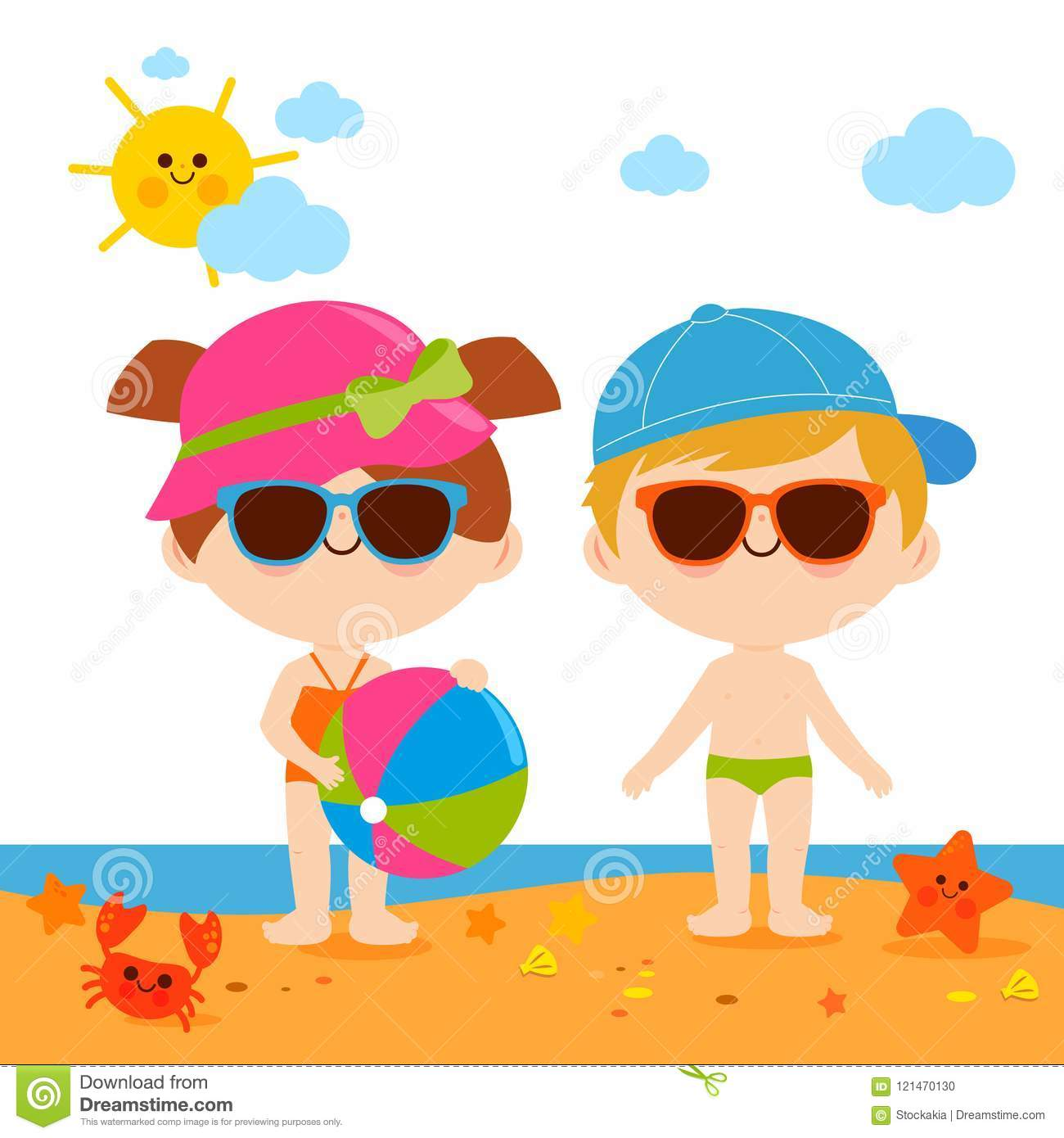 b4f3f8087e702 Children At The Beach With Hats And Sunglasses Stock Vector ...