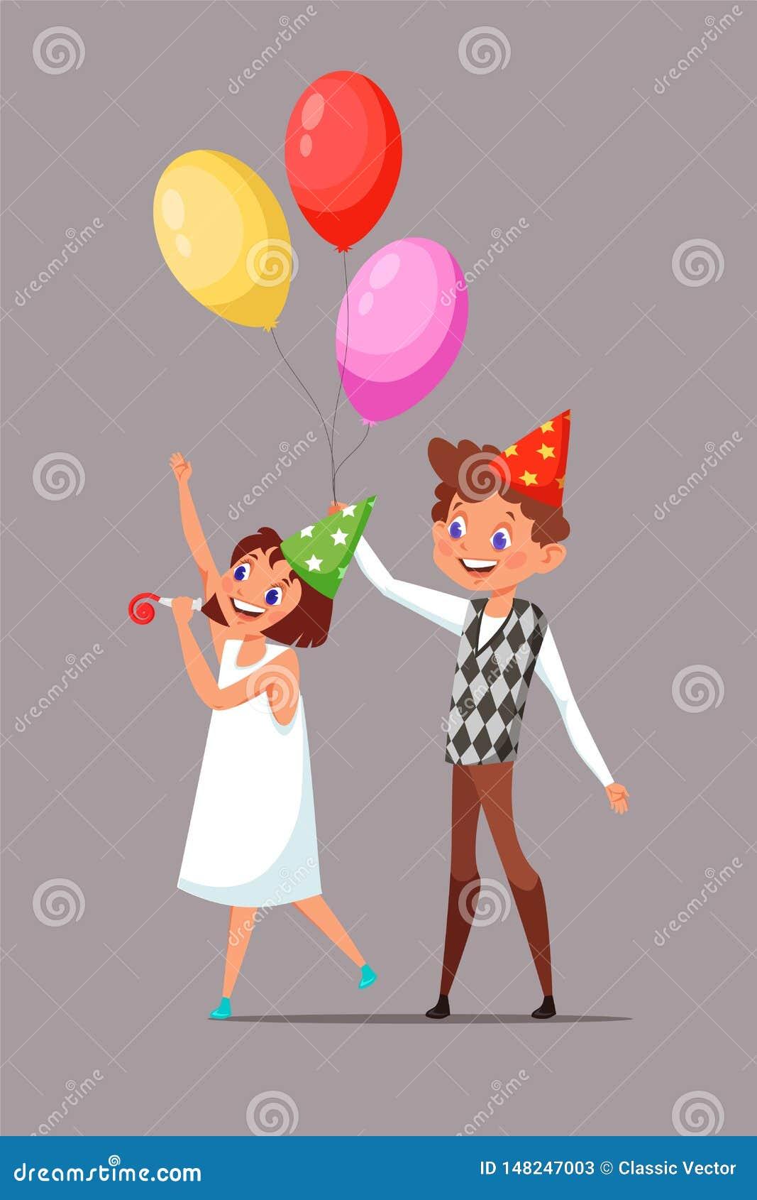 Children in birthday hats vector illustration