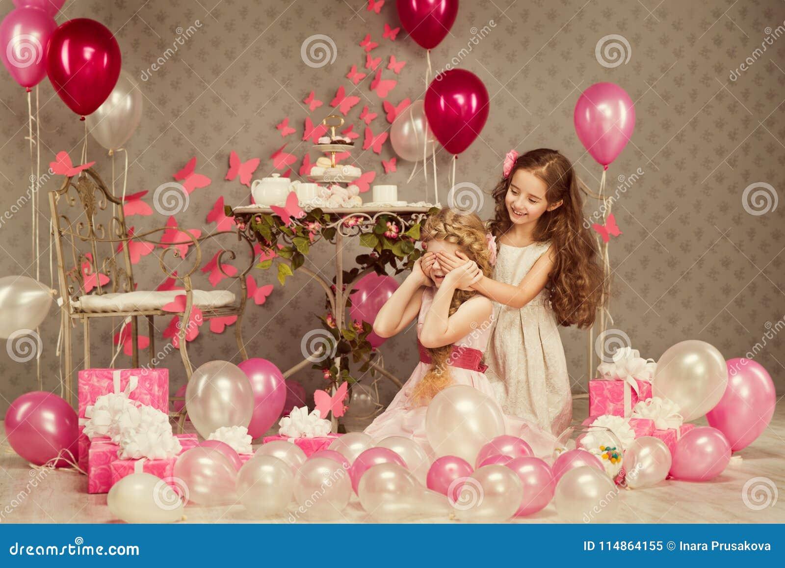 Children Birthday Party, Kid Girl Covering Eyes, Presents Balloons