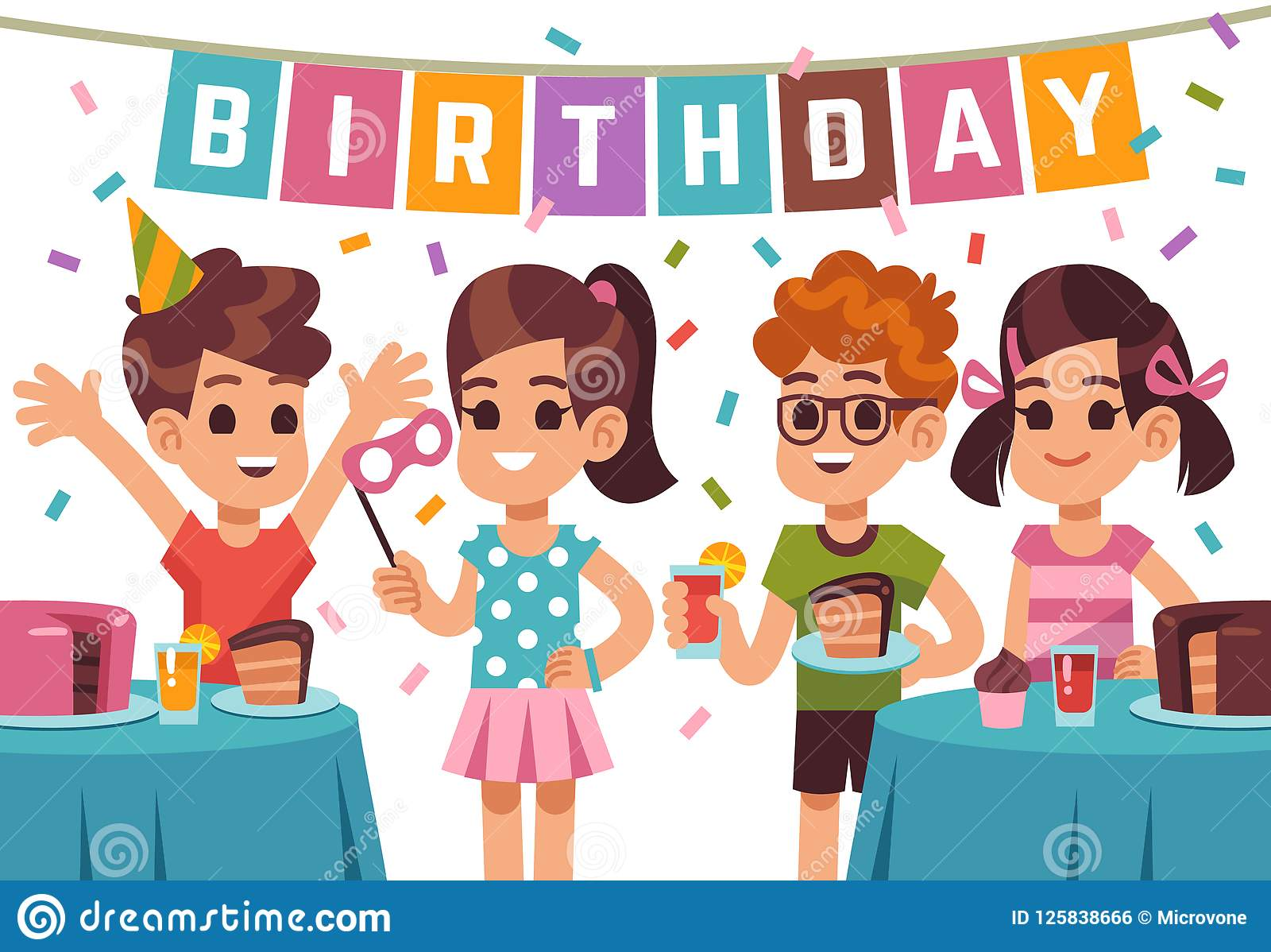 Children Birthday Party Kids Celebrating Anniversary Vector Birthday Background With Cartoon Boys And Girls Stock Vector Illustration Of Banner Group 125838666