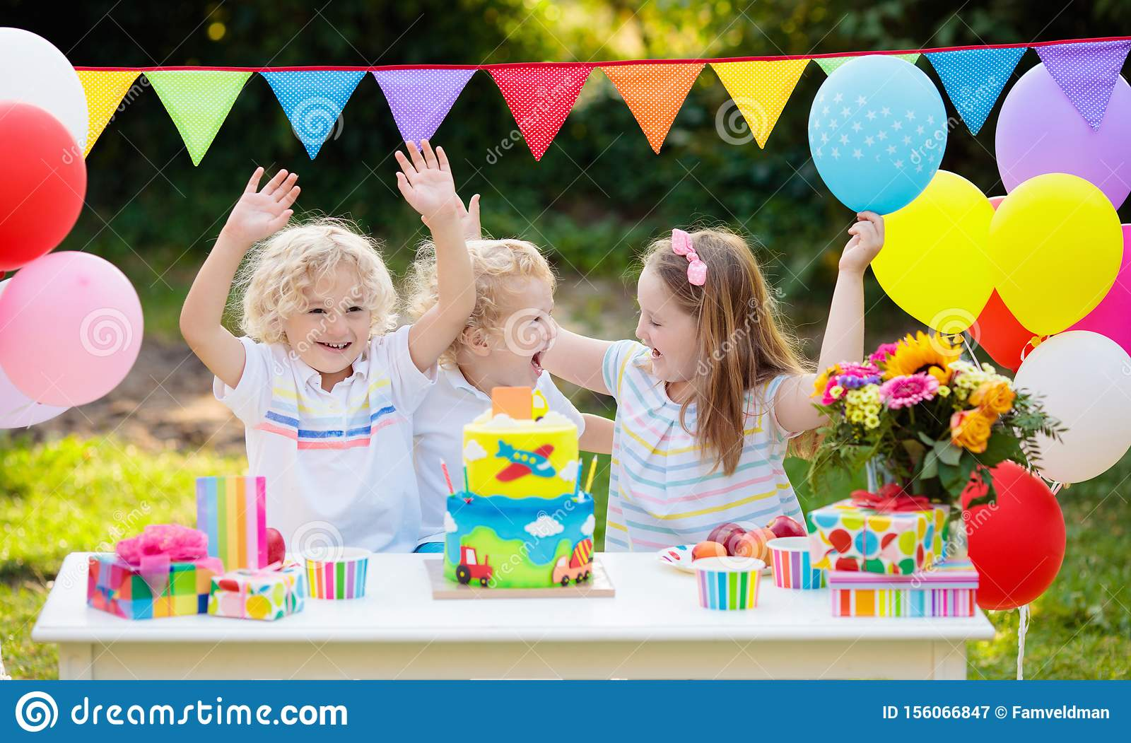 Wondrous Children Blow Candles On Birthday Cake Kids Party Stock Image Personalised Birthday Cards Paralily Jamesorg
