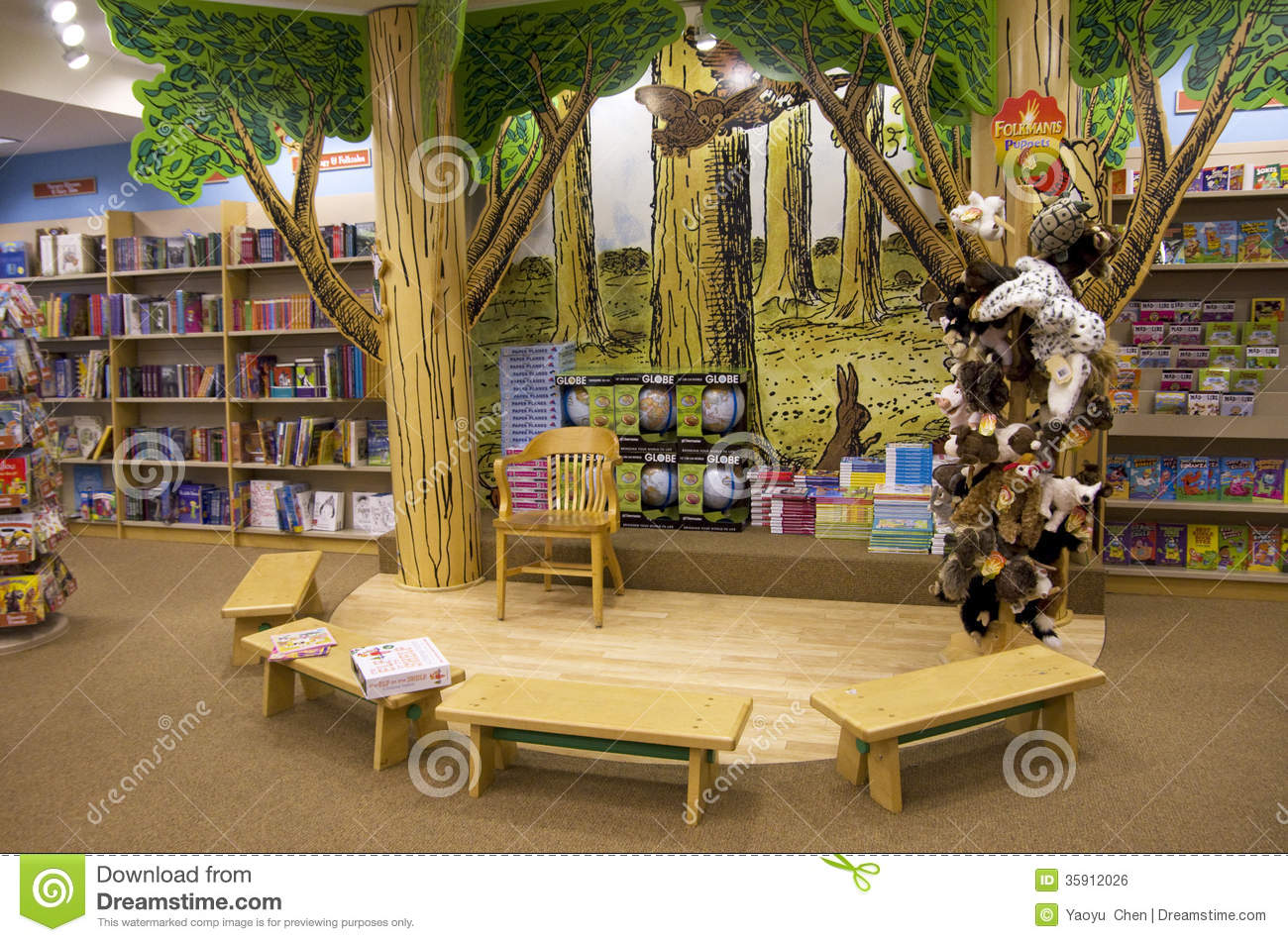 Nice reading story telling area for children in barnes and noble