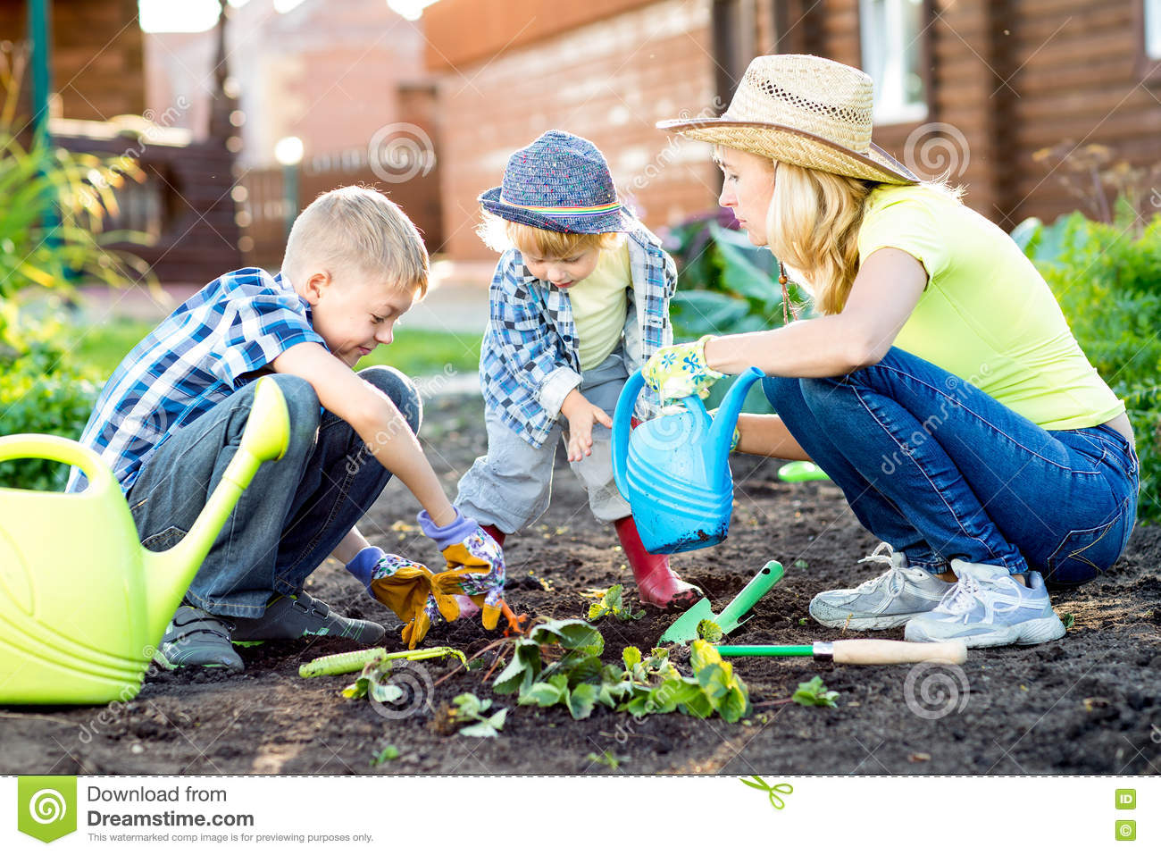 royalty free stock photo download children brothers as gardeners