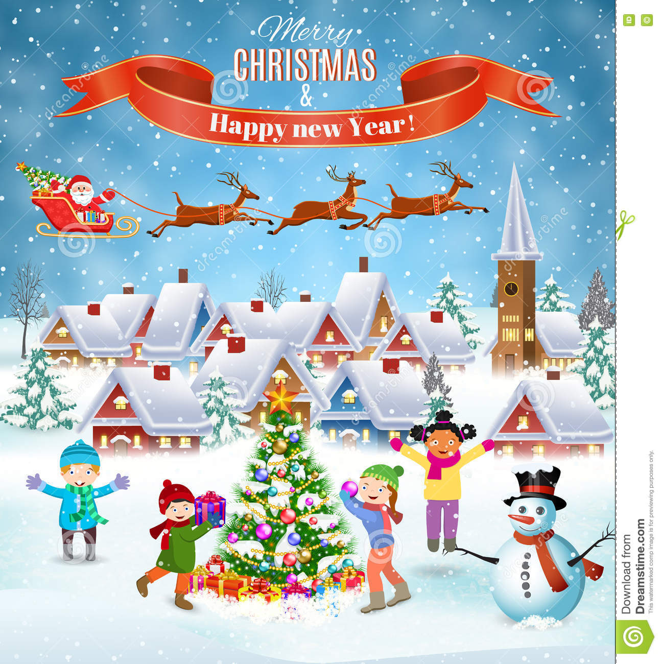 happy new year and merry christmas landscape card design winter fun kids decorating a christmas tree winter holidays santa claus with deers in sky above - Fun Things To Do On Christmas Eve