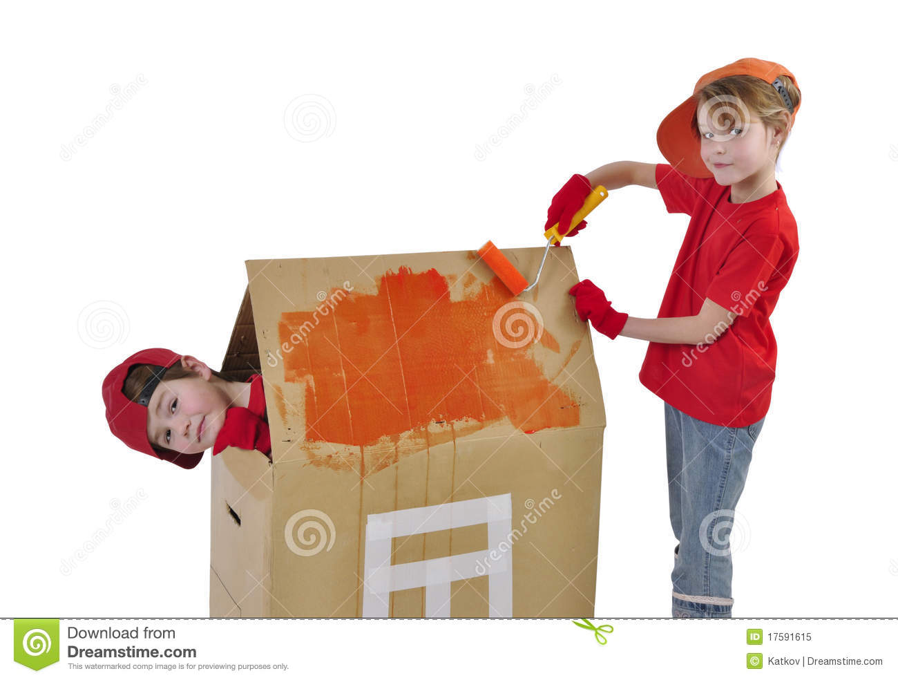 Children Building A Toy House Royalty Free Stock Photo ...