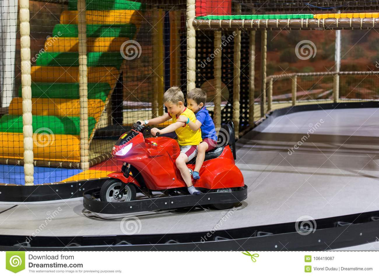 Children on bumper car