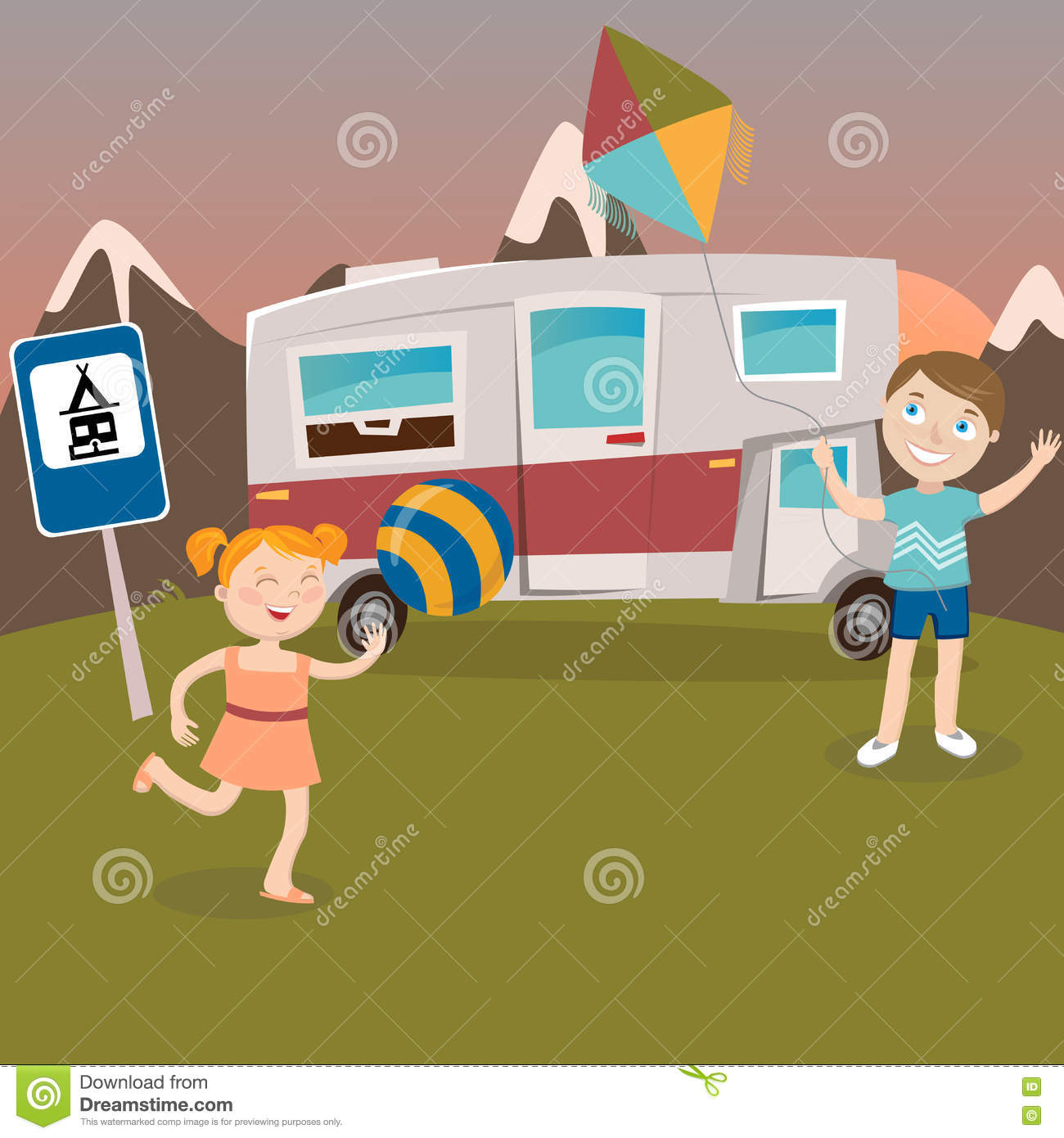 Children On Camper Vacation Happy Kids Playing In Mountains Vector