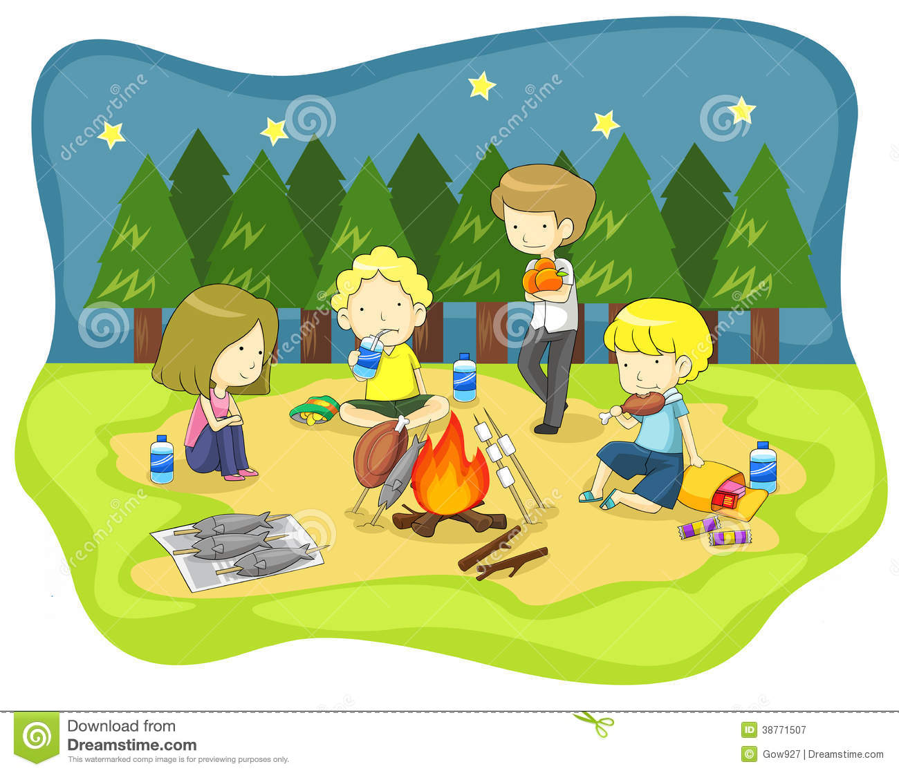 Children Campfire In The Wilderness At Night Stock Vector