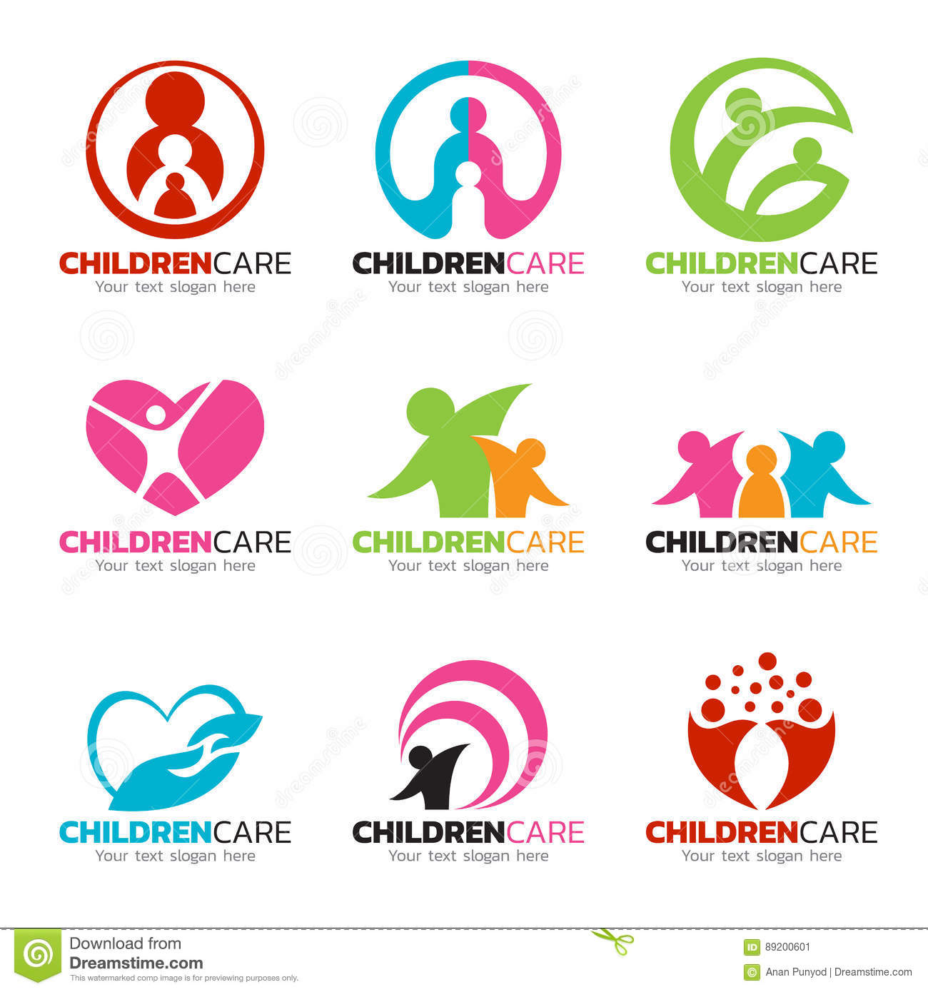 Children Care And Family Care Logo Vector Set Design Stock