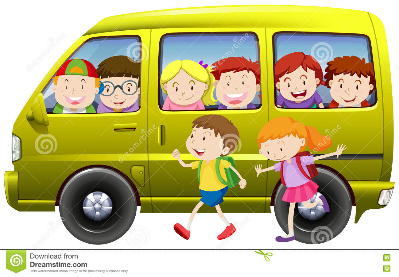 f712b5815b Children Carpooling On The Van Stock Vector - Illustration of kids ...