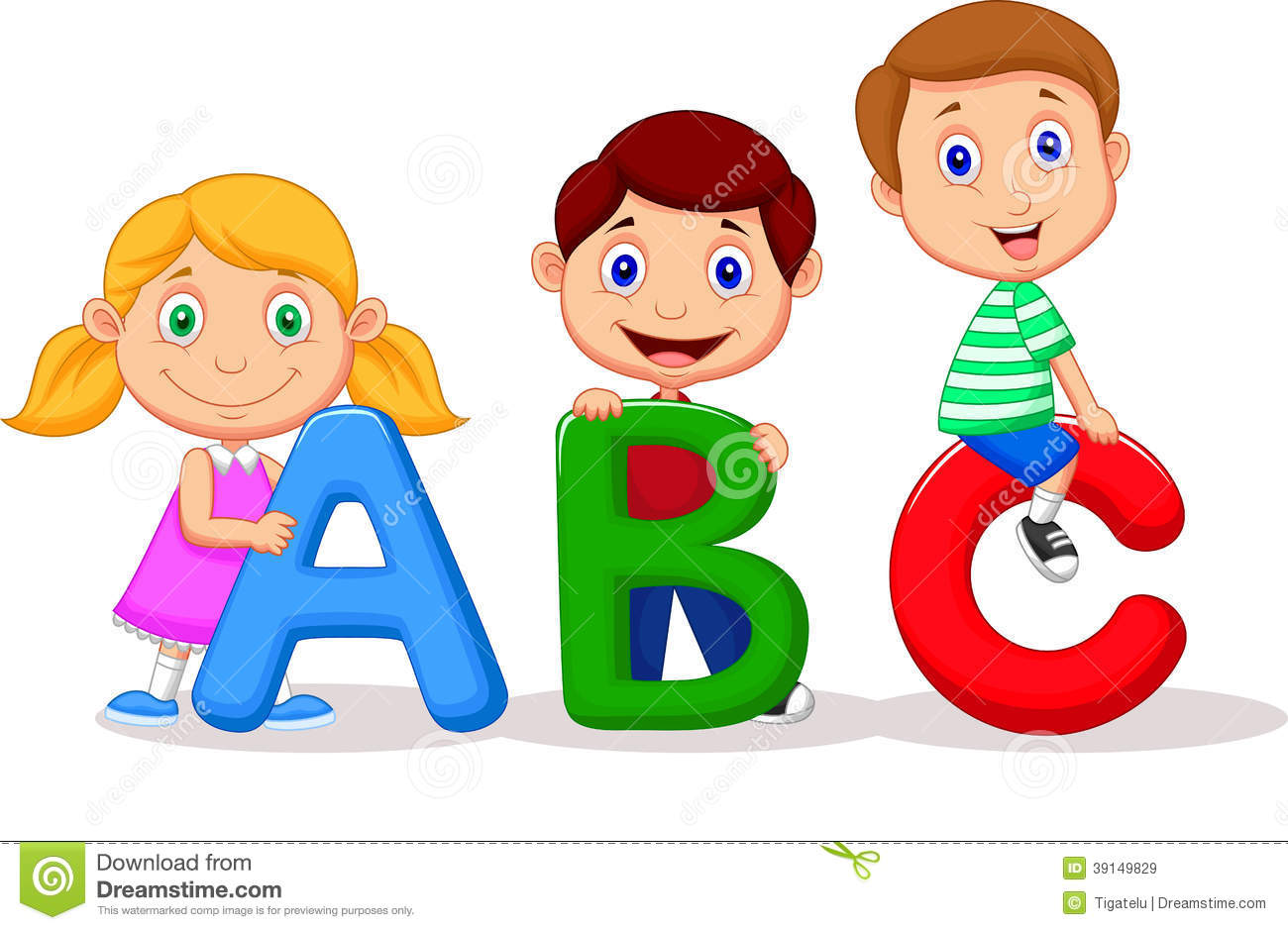 children cartoon with abc alphabet stock vector - Cartoon Children Pictures