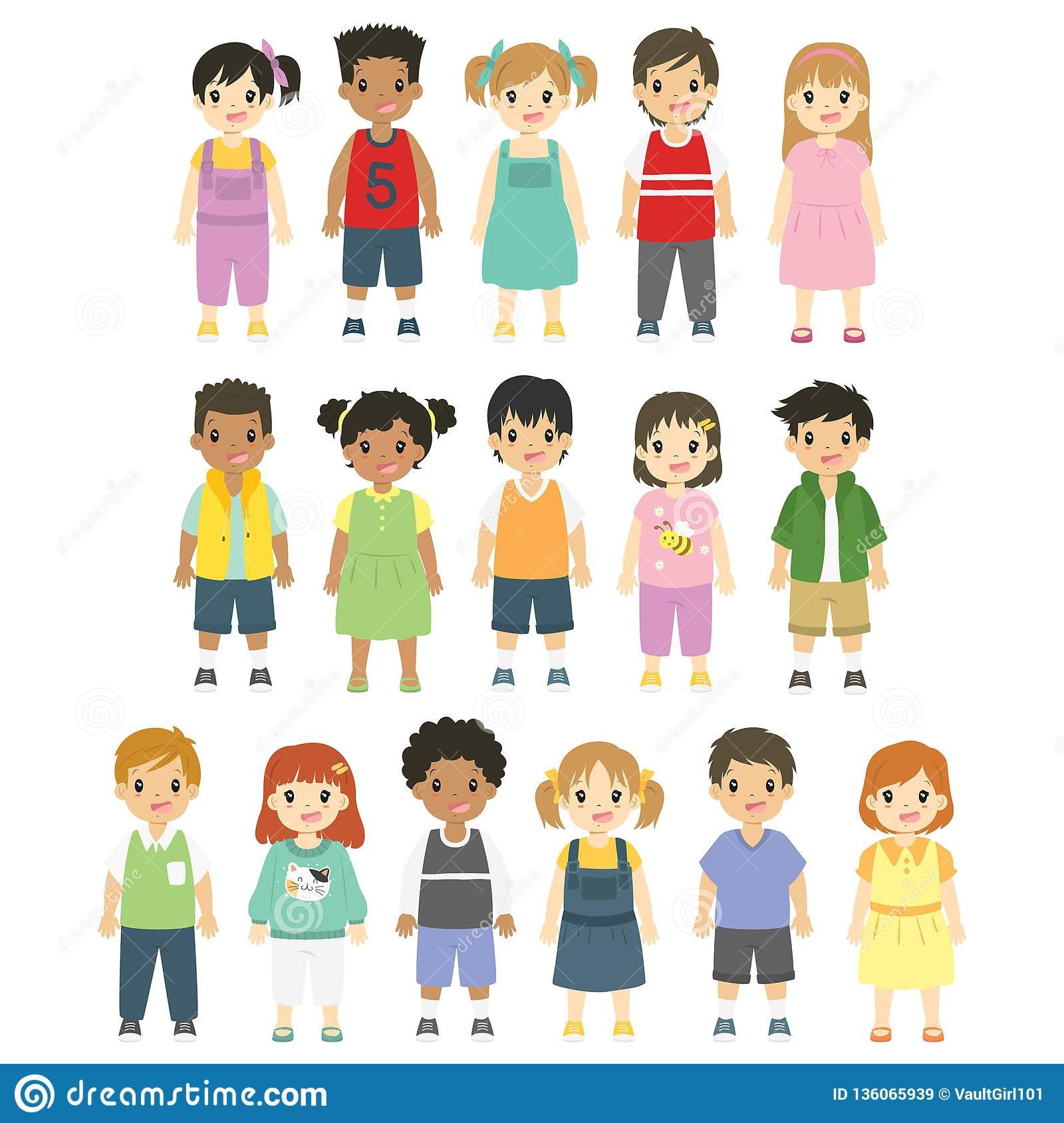 Happy Children Boys And Girls Vector Set Stock Vector