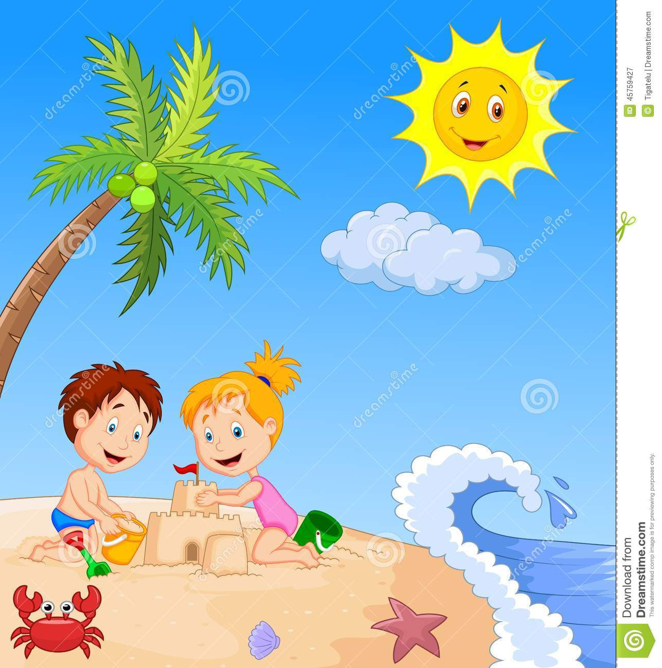 Children Cartoon Making Sand Castle At Tropical Beach Stock Vector ...