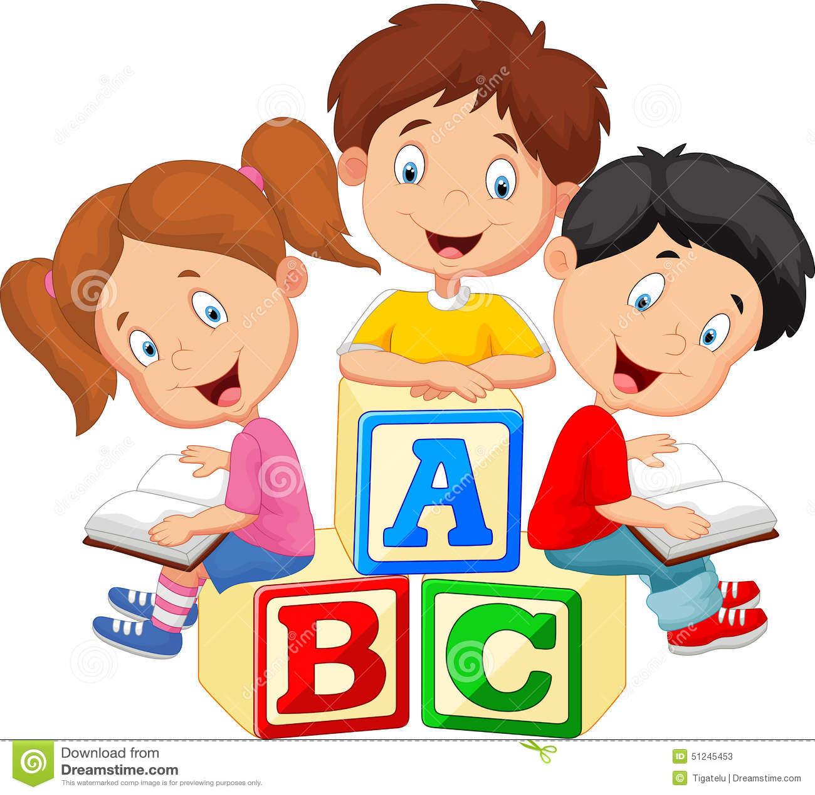 children cartoon reading book and sitting on alphabet blocks stock vector - Cartoon Children Images