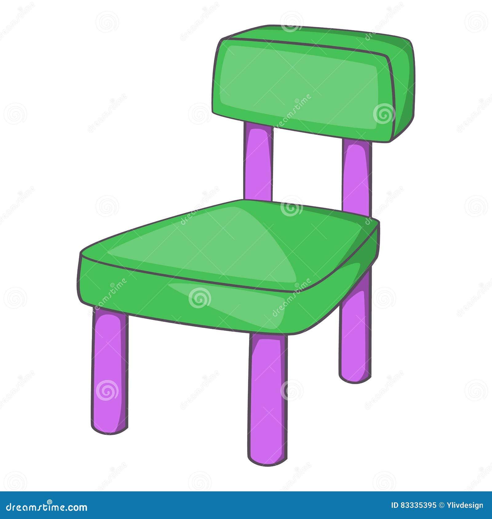 Children chair icon, cartoon style
