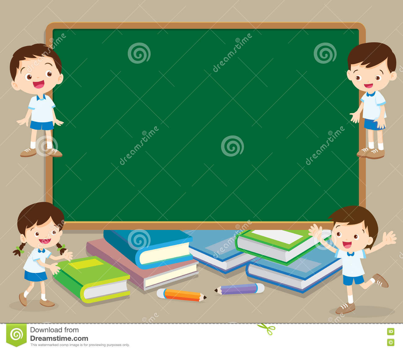Children and chalkboard stock vector  Illustration of desk - 81451567
