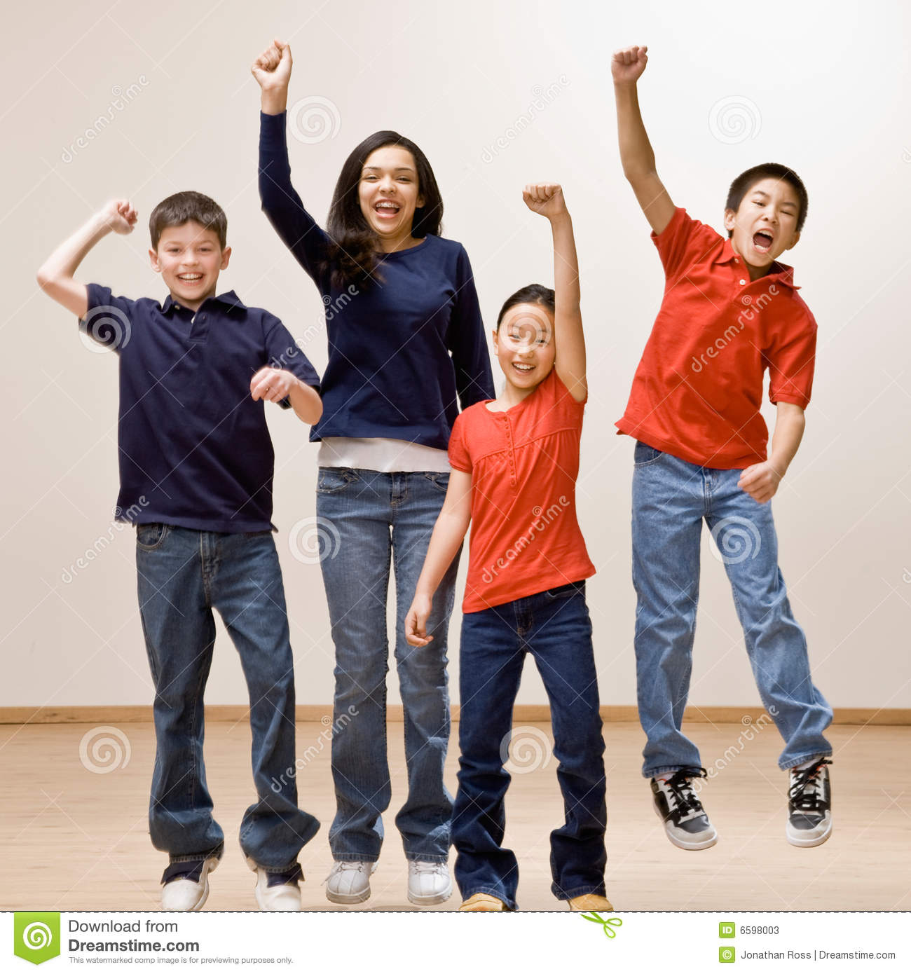 Children Cheering And Celebrating Their Success Stock ...