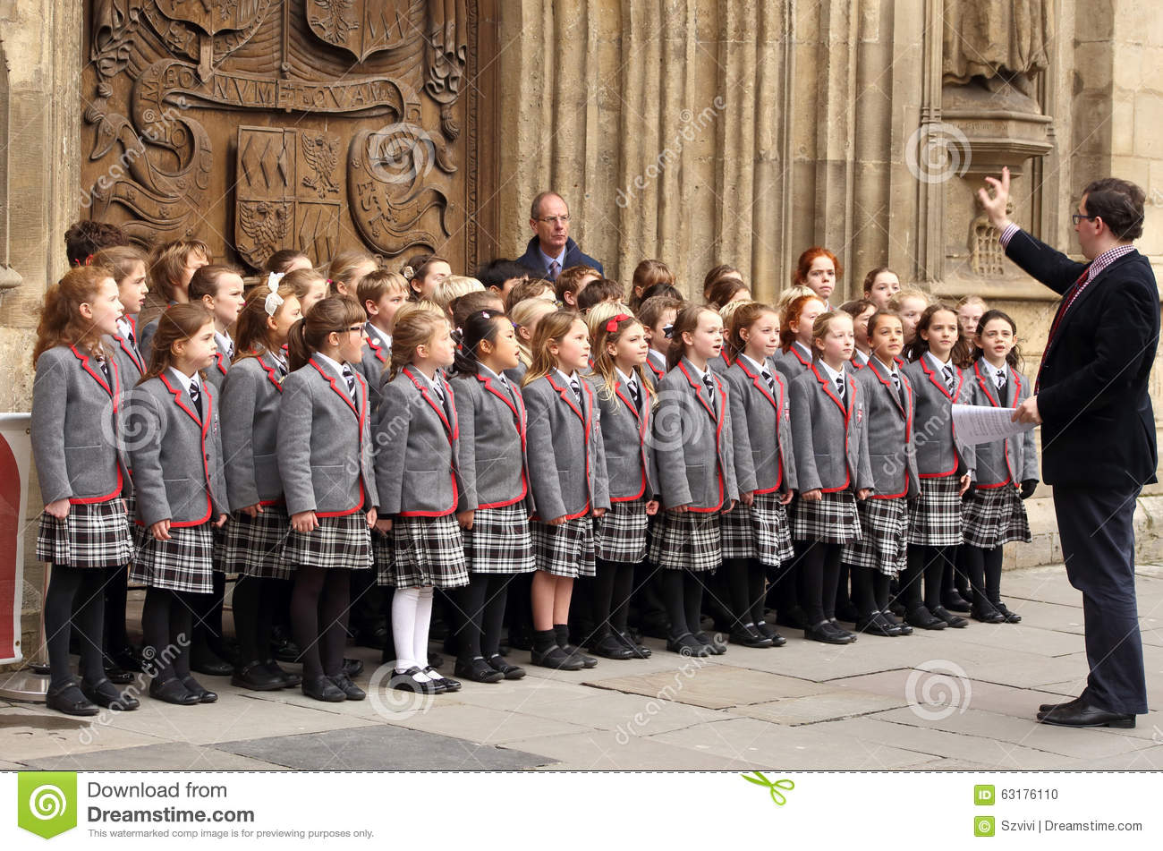 Children Choir Singing Christmas Carols In Front Of The Bath Abbey ...