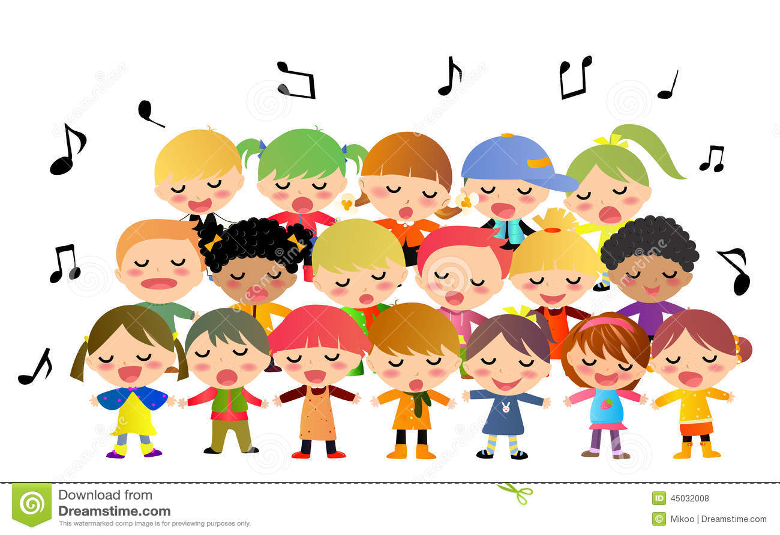 Children Choir Singing Stock Vector - Image: 45032008