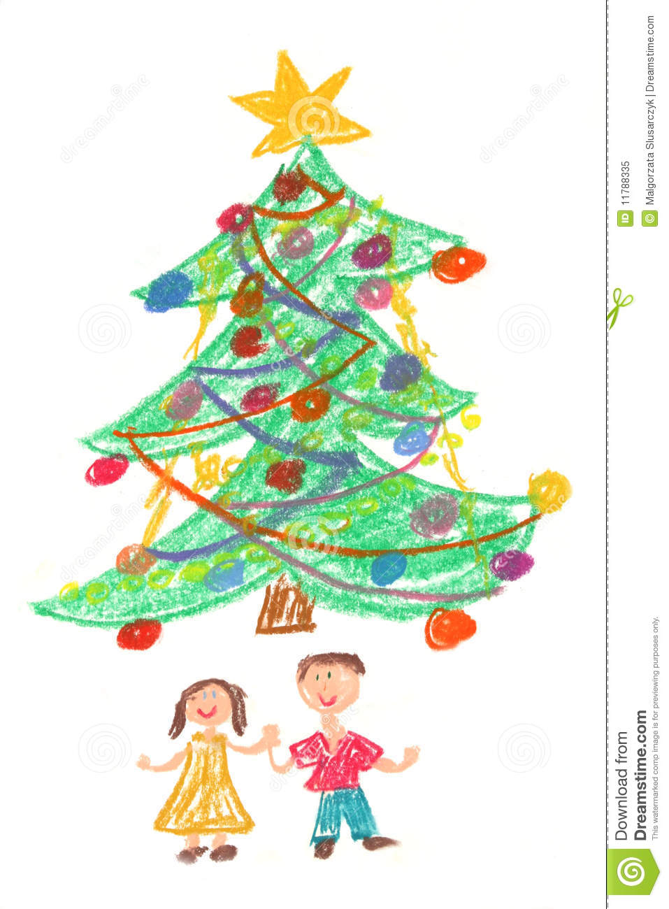 Children And Christmas Tree - Drawing Stock Illustration ...