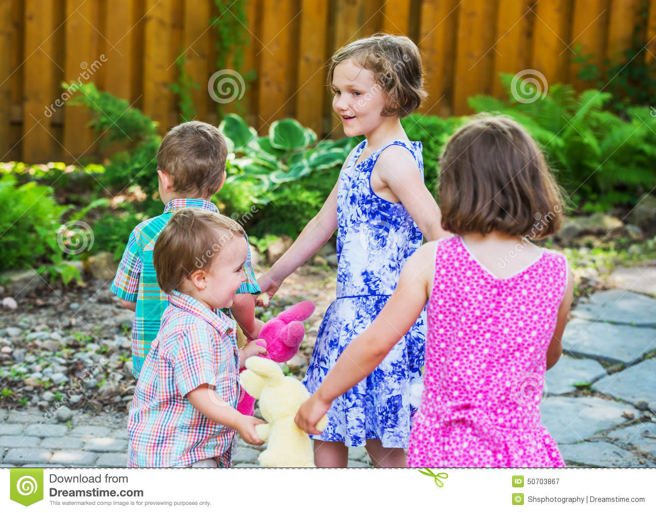 Children In A Circle Playing Ring Around The Rosie Stock Image ...