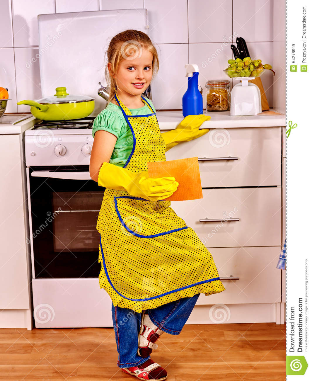 Kitchen Cleaning: Children Cleaning Kitchen Stock Image. Image Of Indoors