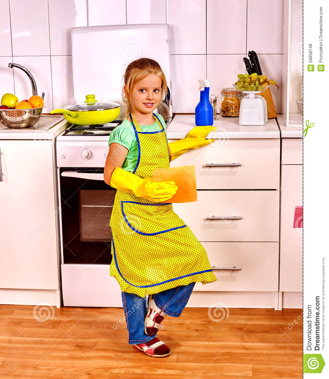 Children cleaning kitchen stock image image of housewife for Small childrens kitchen