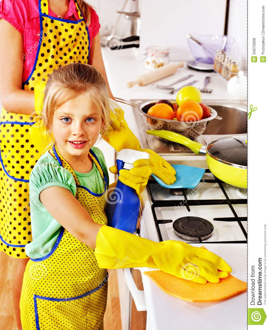 Kitchen Cleaning: Children Cleaning Kitchen. Stock Photo. Image Of Home