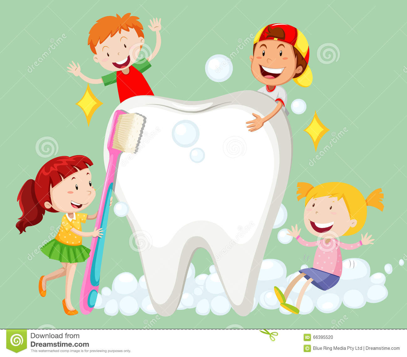 Children Cleaning Tooth With Toothbrush Stock Vector ...