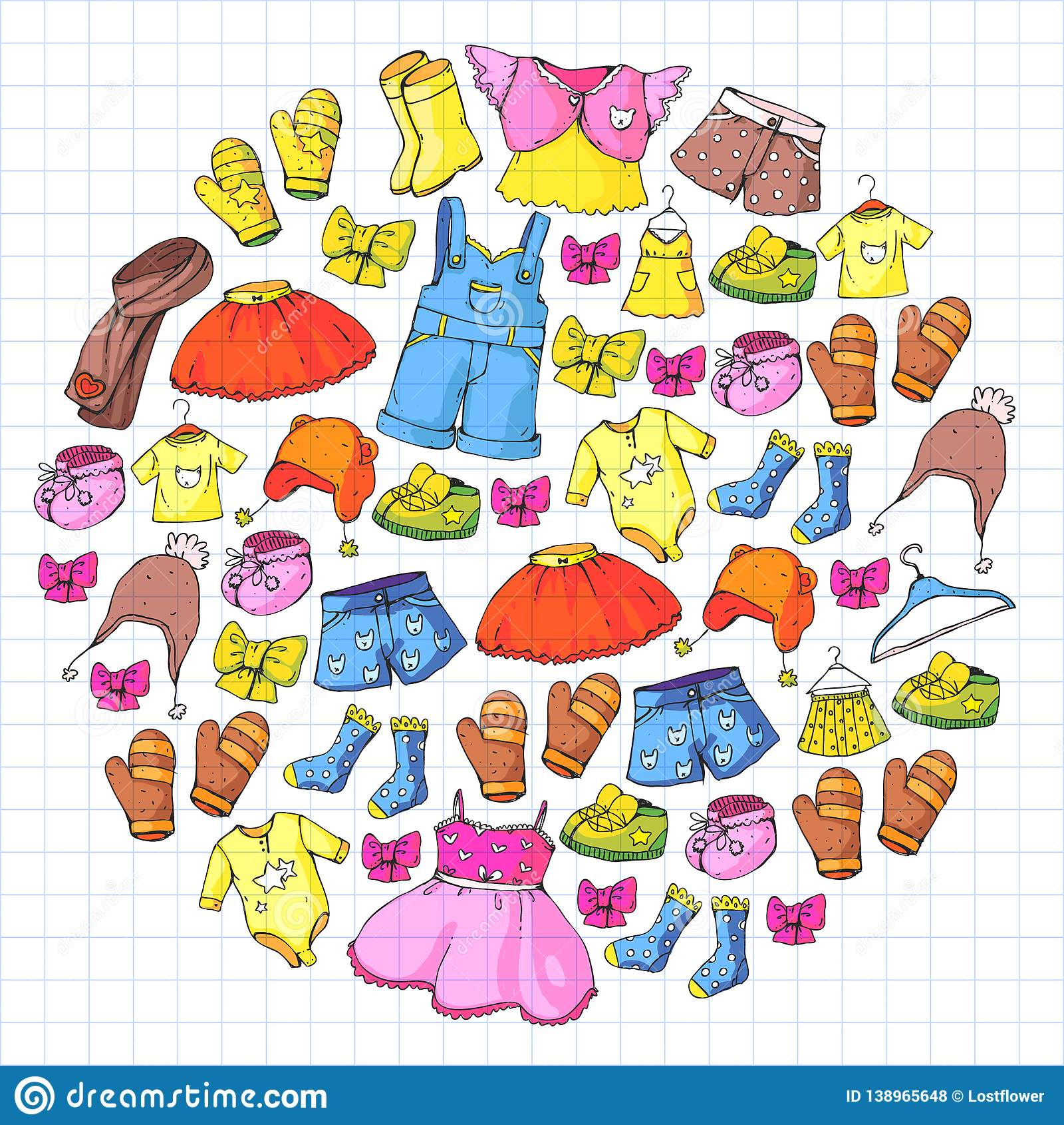 Children Clothes Background For Babies Kids Patterns Stock Vector Illustration Of Dress Children 138965648