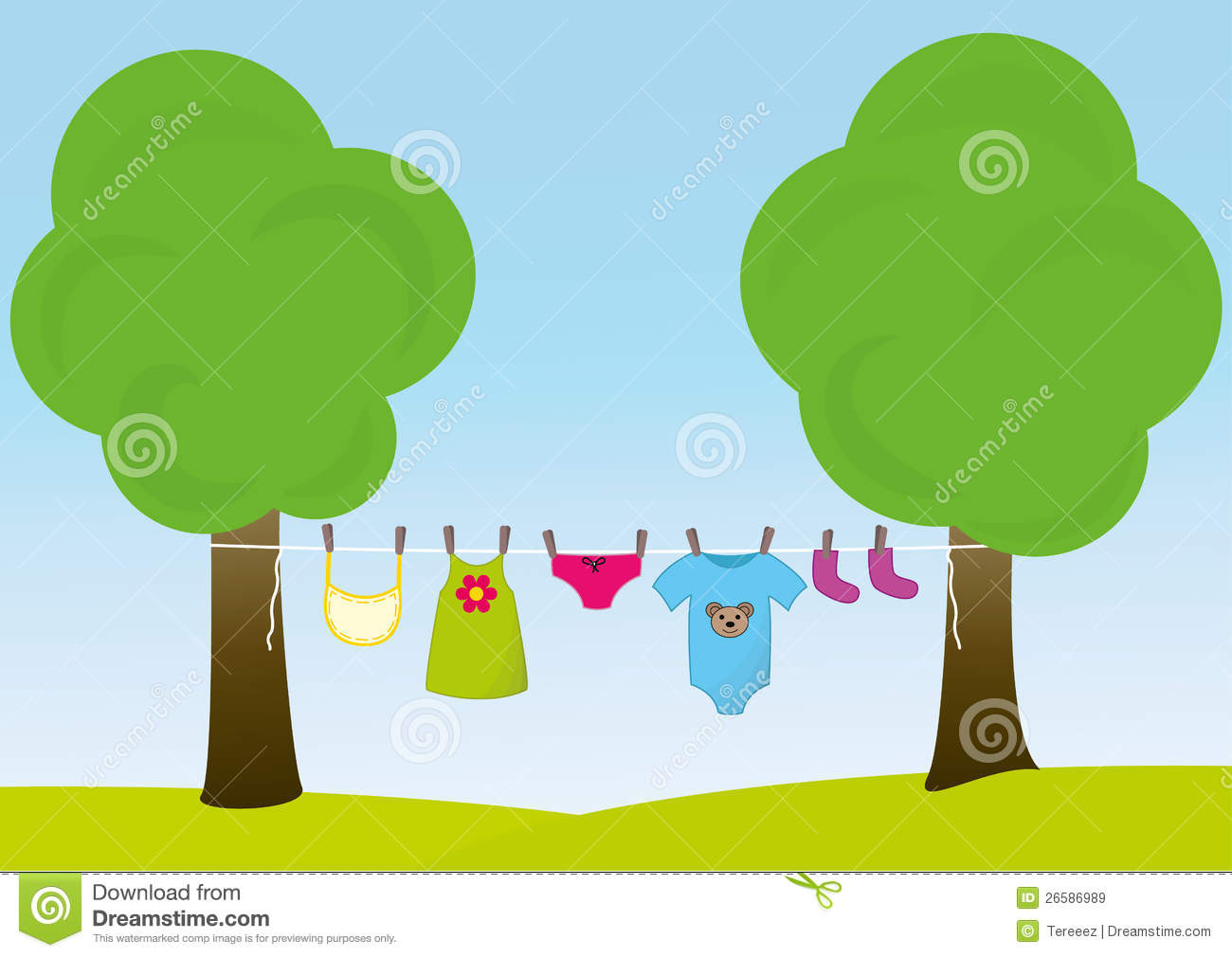 Children clothes on the clothesline