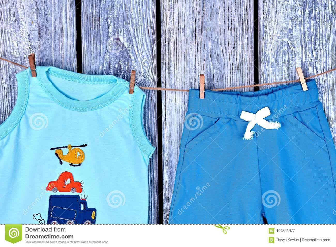 532b611d0 Children Clothes Hanging On Rope. Stock Image - Image of grey, clean ...