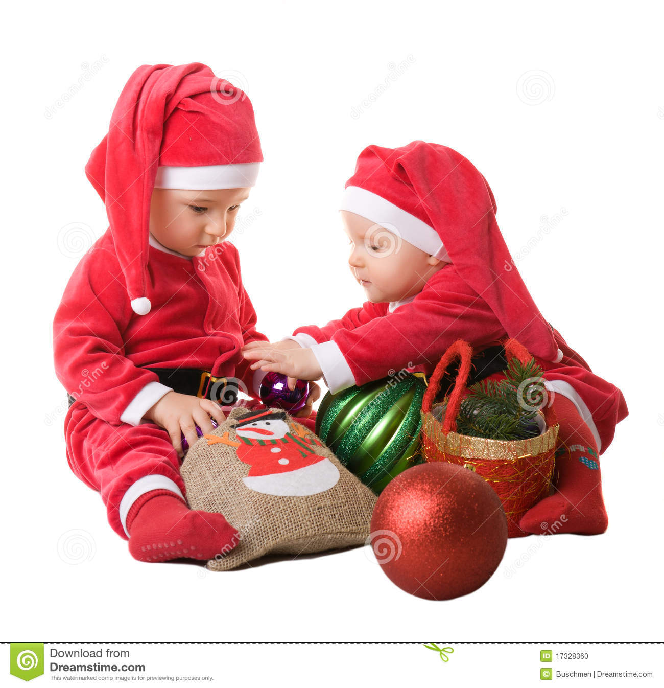 Children in the clothes of santa claus stock photo image
