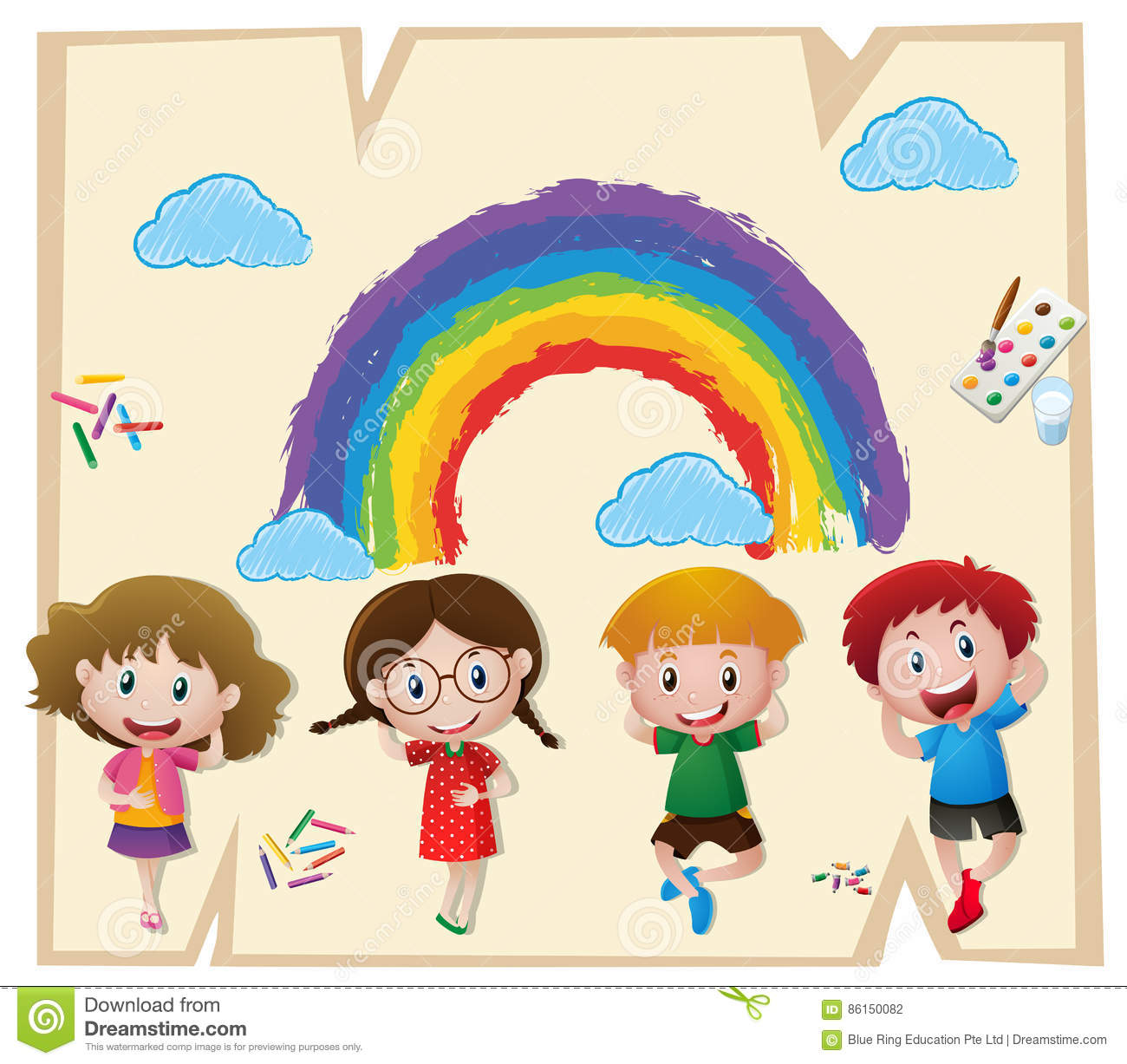 Children and colorful rainbow on paper