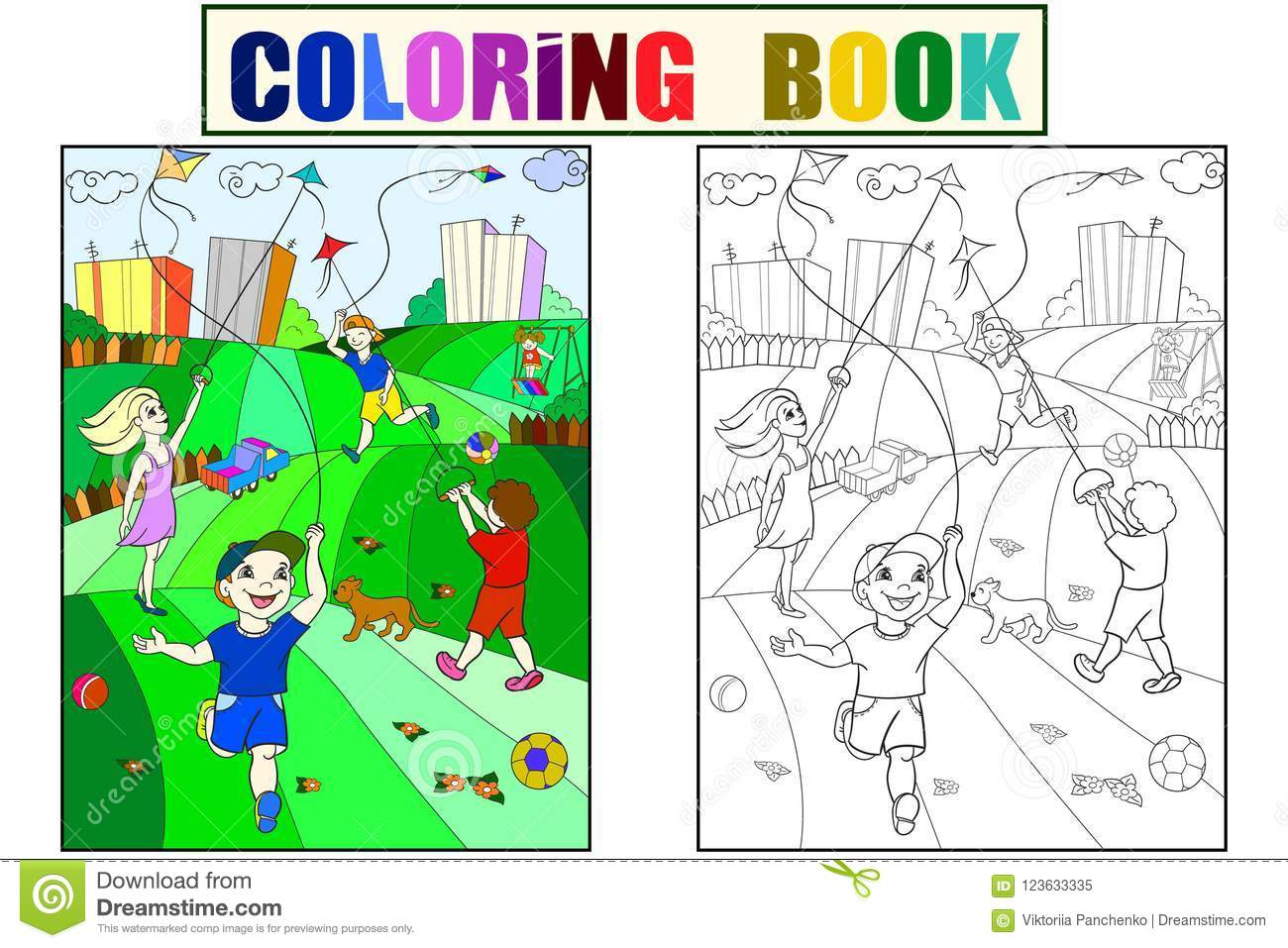 Children Coloring, Color, Black And White Game Kite Flying Stock ...